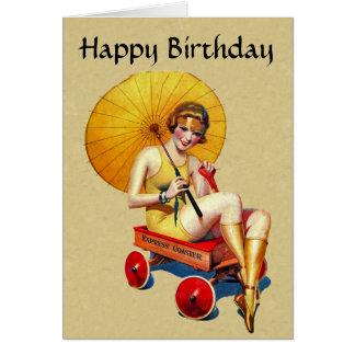 Vintage 1920s Flapper Lady Umbrella Wagon Birthday Greeting Card