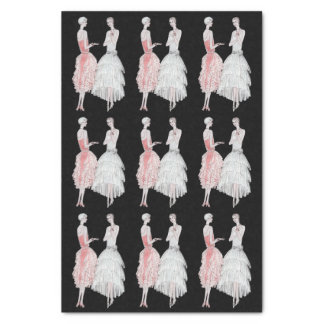 Vintage 1920s Flappers in Pink and White on Black Tissue Paper