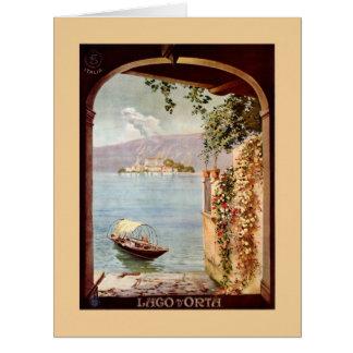 Vintage 1920s Lago d'Orta Italian travel poster Card