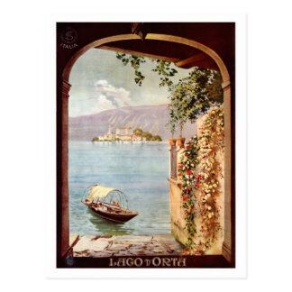 Vintage 1920s Lago d'Orta Italian travel poster Postcard