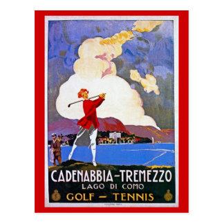 Vintage 1920s Lake Como Golf Italian travel advert Postcard