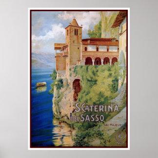 Vintage 1920s Lake Maggiore convent Italian travel Poster