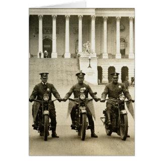 Vintage 1920s Motorcycle Cops Card