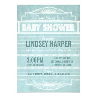 "Vintage 1920's Movie Marquee Baby Shower Blue 5"" X 7"" Invitation Card"