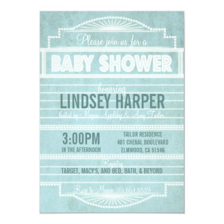 Vintage 1920's Movie Marquee Baby Shower Blue 5x7 Paper Invitation Card