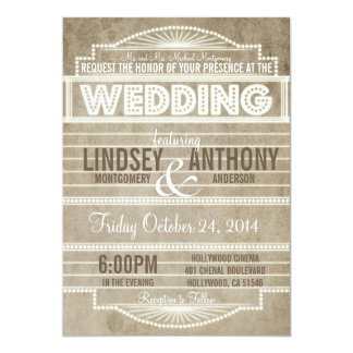 Vintage 1920's Movie Marquee Wedding Invitation