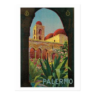 vintage 1920s Palermo Sicily travel ad Postcard