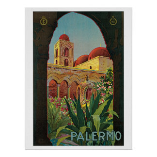 Vintage 1920s Palermo Sicily travel Poster