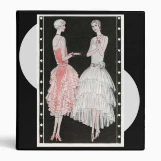 Vintage 1920s Pink, Black and White Fashion 3 Ring Binder