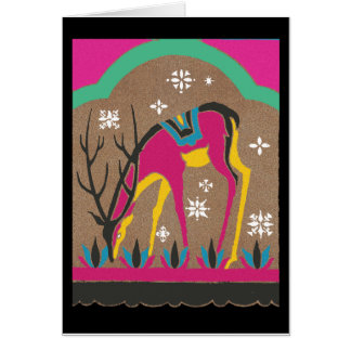 Vintage 1920's Reindeer Grazing in the Snow Card