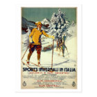 Vintage 1920s winter sports advert Italian travel Postcard