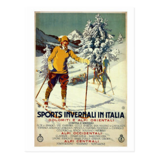 Vintage 1920s winter sports advert Italian travel Post Card