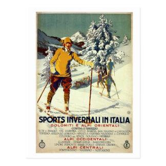 Vintage 1920s winter sports advert Italian travel Post Card