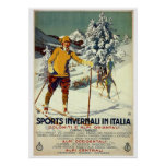 Vintage 1920s winter sports advert Italian travel Poster