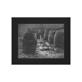 Vintage 1922 Photograph Black and White Empties Canvas Print