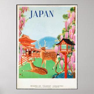 Vintage 1930s Deer & Japanese Pagoda Travel Poster