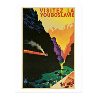 Vintage 1930s visit Yugoslavia travel advert Postcard