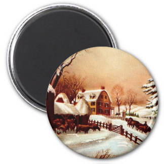 Vintage 1930s Winter Country Scene 2 Inch Round Magnet