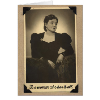 Vintage 1930s Woman Who Has It All Birthday Card