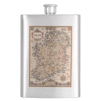 Vintage 1931 Ireland map gift idea Hip Flask