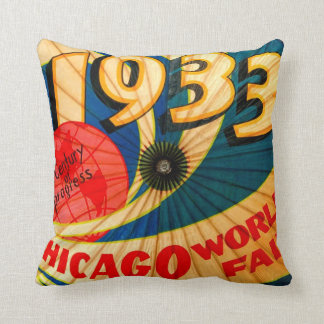 Vintage 1933 World's Fair Century of Progress Ad Throw Pillow
