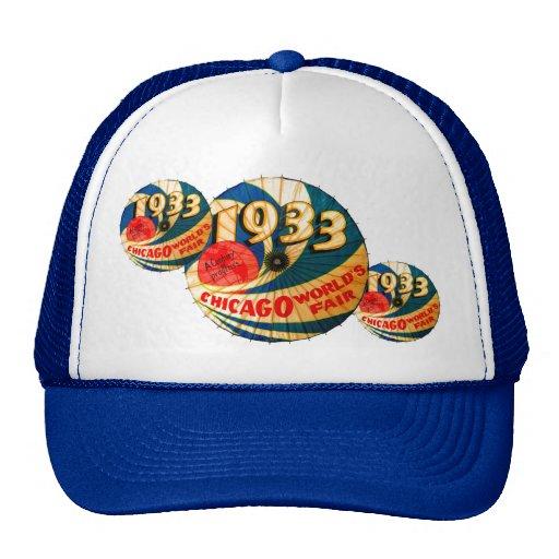 Vintage 1933 World's Fair Century Progress Ad Art Trucker Hats