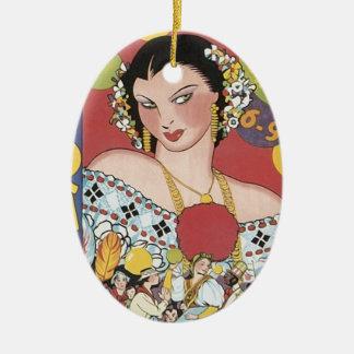 Vintage 1937 Panama Carnaval Woman Ceramic Ornament