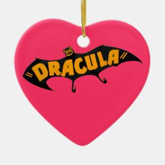 Vintage 1938 Dracula Vampire Bat Ceramic Heart Ornament