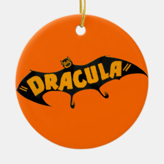 Vintage 1938 Dracula Vampire Bat Round Ceramic Ornament