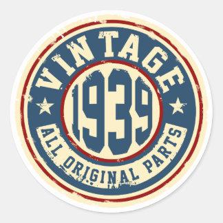 Vintage 1939 All Original Parts Round Sticker