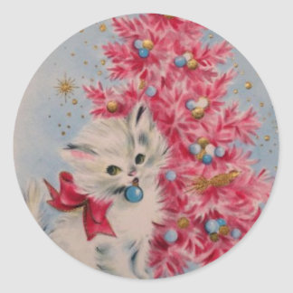 Vintage 1940 Christmas Cat Classic Round Sticker