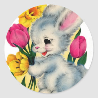 Vintage 1940s Bunny Rabbit With Flowers Classic Round Sticker