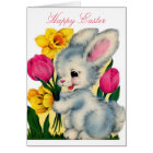 Vintage 1940s Easter Bunny Rabbit With Flowers Card