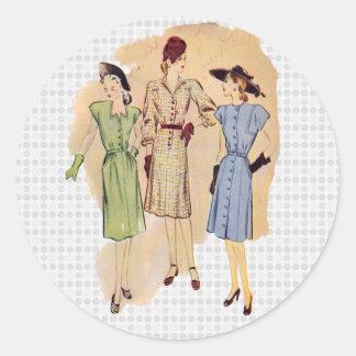 Vintage 1940s Fashion Classic Round Sticker