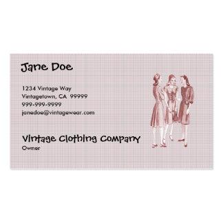 Vintage 1940s Fashion V2 Red Business Cards