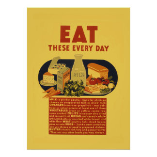 Vintage 1940s healthy food school poster