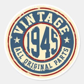 Vintage 1945 All Original Parts Round Sticker