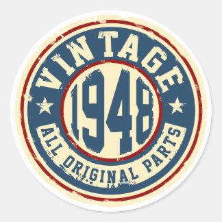 Vintage 1948 All Original Parts Round Sticker
