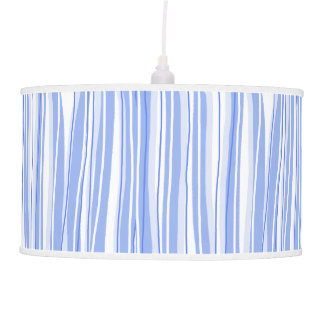 Vintage 1950s Baby Blue Wild Stripes Pendant Lamp