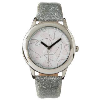 Vintage 1950s Boomerang Watch (silver glitter)