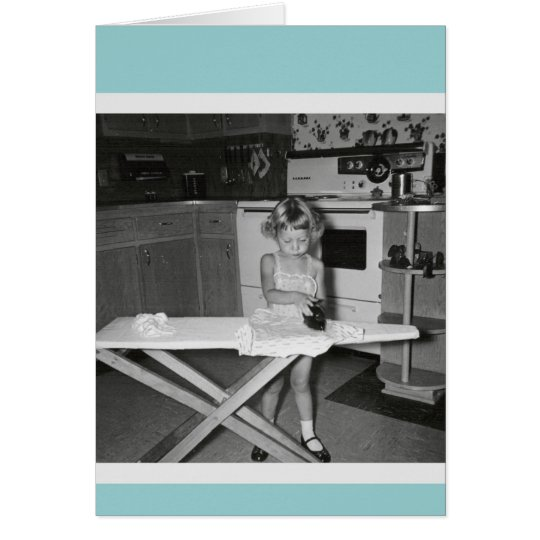 Vintage 1950s Girl Ironing Card