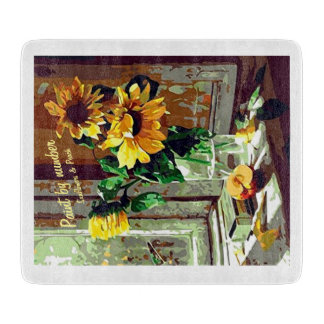 Vintage 1950's paint-by-number sunflowers & peach cutting board