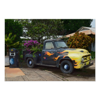 Vintage 1950s Pickup Truck in Hawaii Poster