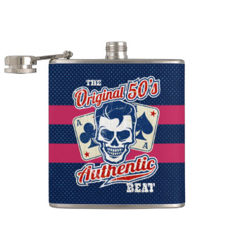 Vintage 1950s Rockabilly Skull with Aces Hip Flask