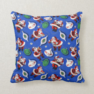 Vintage 1950s Santa Claus Gift Wrap Pattern Pillow