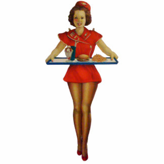 Vintage 1950s Server Sculpture Standing Photo Sculpture