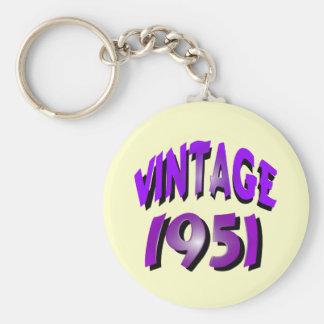 Vintage 1951 basic round button keychain