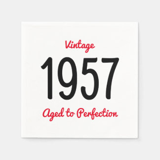 Vintage 1957 Aged To Perfection 60 Birthday Party Disposable Napkins