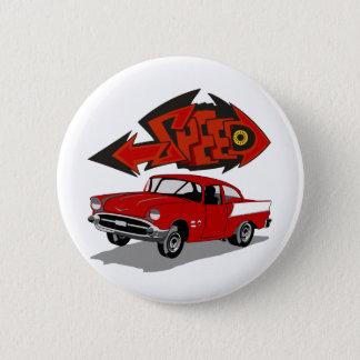 Vintage 1957 Chevy with Grafitti Text Speed 2 Inch Round Button