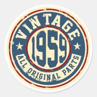 Vintage 1959 All Original Parts Round Sticker